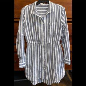 Japna Button Down Shirt Tunic sz LG~Navy White